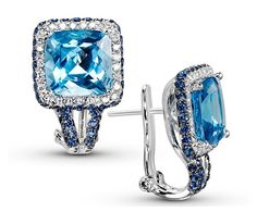 18k white gold is paired with blue topaz and sapphires to sophisticatedly create a hip and modern flair.