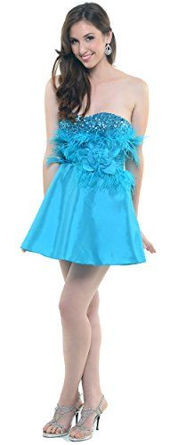 2013 Homecoming Dresses Turquoise Fully Feathered Sequin  Tulle Cocktail Dress -- More info could be found at the image url.