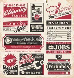 Retro newspaper ads design template vector by Lukeruk on VectorStock®