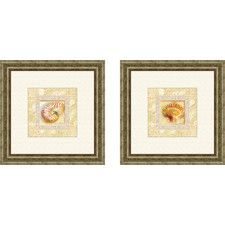Bath Antique Shell 2 Piece Framed Graphic Art Set