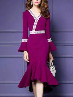 #AdoreWe #BerryLook - #berrylook V-Neck Bell Sleeve Decorative Lace Mermaid Maxi Dress - AdoreWe.com