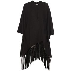Vince Fringed-leather wool and cashmere-blend poncho ($795) ❤ liked on Polyvore featuring outerwear, dark grey, leather poncho, wool poncho, vince poncho and fringe poncho