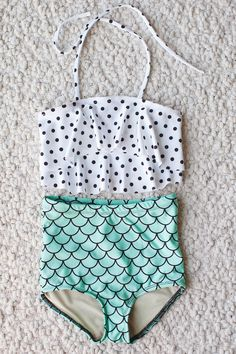 Mermaid high waist bathing suit with polka dot ruffle top for little girl's