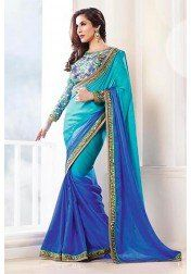 Sophie Choudhary Blue shaded heavy blouse embroidered satin chiffon saree with blouse