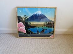 Watercolor on Silk Picture Mt Fuji Rickshaw Painting Blue Black Pink Colors FauxBamboo Wood Frame 17 x 14 inches Mid Century Asian by BonniesVintageAttic on Etsy Silk Painting, Painting On Wood, Etsy Vintage, Vintage Art, Vintage Hotels, Hanging Frames, Asian Home Decor, Mid Century Art, Blue Roses