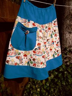 woman's A Line Skirt, ViNtAGe InSpiReD rETrO cAnDy ShOp, cUtE kiDs, with pocket, Skirt size women's 4-22
