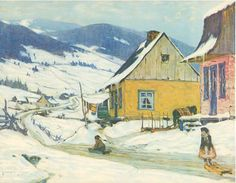 The Yellow House Artwork By Clarence Gagnon Oil Painting & Art Prints On Canvas For Sale Canadian Painters, Canadian Artists, Quebec, Clarence Gagnon, Art Actuel, Of Montreal, Winter Art, Illustrations, Sculpture