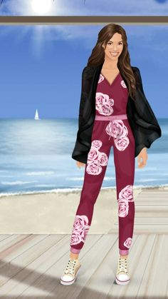 Pink rose jump suit  Black blouse Tan snickers