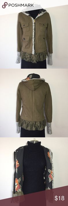 """Army Green Cargo Sweatshirt Jacket Army Green Cargo Sweatshirt Jacket. Brand is Scrapbook size S: 15"""" across shoulders, 18"""" across chest, 24"""" long, 25"""" sleeve. 100% cotton with floral lining, contrast material at wrist and lace at the bottom. MC/112616 Scrapbook Jackets & Coats"""