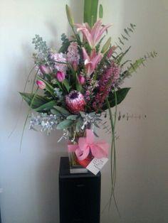 'Mandi' A pretty in pink large vase arrangement