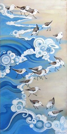 Waves lap the shore. A bustle of sandpipers dart in, dart away, dit dit dit dit … – Hobbies paining body for kids and adult Art Plage, Canvas Art, Canvas Prints, Canvas Paper, Sea Art, Bird Art, Painting Inspiration, Art Reproductions, Watercolor Art