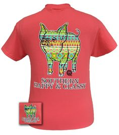Girlie Girl Originals Southern Aztec Happy & Preppy Pig Bright Coral T Shirt
