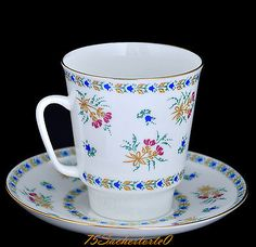 """Russian Imperial Lomonosov Porcelain Bone Coffee Cup and Saucer """"Bluebells"""", NEW"""