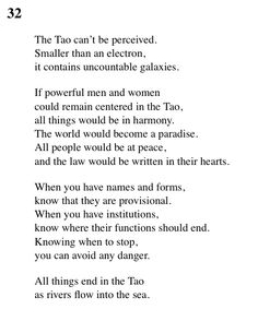 """32 Tao Te Ching - Lao Tse (Lao Tzu) """"All things ends in the Tao, as rivers flows into the sea. Tao Te Ching, Buddhist Teachings, Buddhism, Lao Tzu Quotes, Vegan Quotes, Taoism, Magic Words, Qigong, Some Quotes"""
