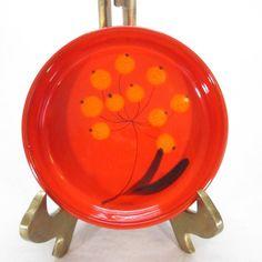 Bo Melander Mid Century Modern Pottery Dish Red Orange Flower Signed Danmark