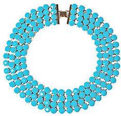 PeepToe Fiesta Statement Necklace Turquoise