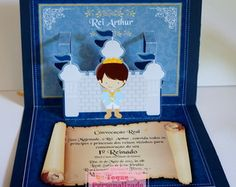 Convite PopUp (3D) Rei Arthur Rei Arthur, King Arthur, Baby Shower, Frame, Sweet, Party, Popup, Stationary, 1st Birthday Party Invitations
