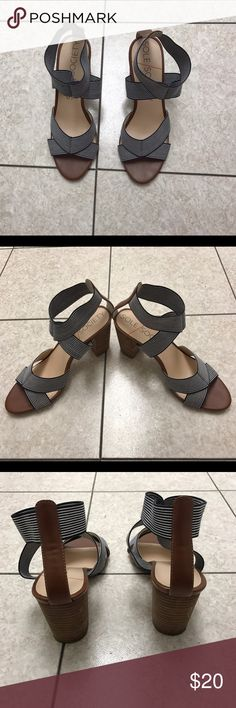 Striped heeled sandals Slip on strappy summer sandals. Block faux wood heel. Heel approximately three inches. Canvas straps stretch to slip on the foot. Navy and white stripes, brown accents. Word three times. Sole Society Shoes Sandals