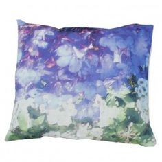 """Striking washed """"Lily and Violet"""" floral print linen cushion, inspired by nature, urban influences and contemporary art the collection is a beautiful mix of all of these elements."""