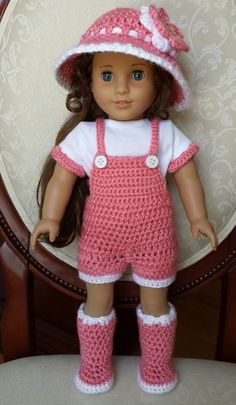 "Crocheted American Girl 18"" Doll Spring Outfit Clothes Overalls Boots Shirt 5pc Set, No Crochet Pattern"
