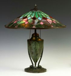 """Bradley & Hubbard Arts & Crafts Leaded Glass Table Lamp. C. 1920. A Private Collection. Ht. 21"""" Shade Dia. 18."""""""