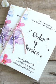 Pretty watercolour pastel wedding stationery - Order of Service