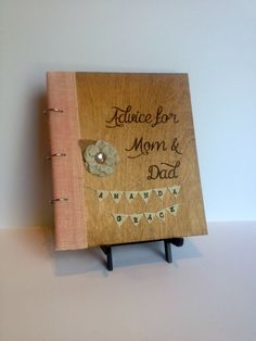 Baby Shower Engraved Guest Book Personalized For New Mom and Dad, Boy or Girl, Advice for Mom & Dad with Burlap Bunting of Baby's Name