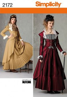 Simplicity Ladies Sewing Pattern 2172 Victorian Era Coat, Skirt & Bustier Costume | Sewing | Patterns | Minerva Crafts