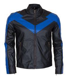 Black Faux Leather Jacket, Biker Leather, Faux Leather Jackets, Retro Fashion Mens, Blue Fashion, Men's Fashion, Modern Fashion, High Fashion, Batman Arkham Knight