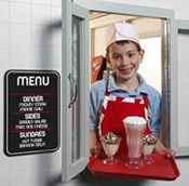 We'll rollerskate your ice cream to your car if you'd like!  Duffy's Diner Outdoor Playhouse