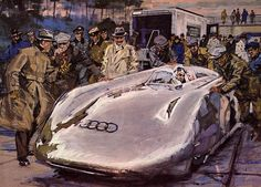 1938 Auto Union Rekordwagen painting by kitchener.lord, via Flickr