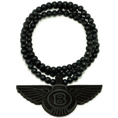 Wings New Good Wood Goodwood Pendant Piece Replica Necklace All Wood Necklace Black found on Polyvore