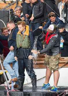 July 13: Jack Lowden, Scottish film & stage actor, gets a bucket of cold water http://www.dailymail.co.uk/tvshowbiz/article-3689154/Oh-buoy-Harry-Styles-cuts-handsome-figure-sports-muddy-face-military-costume-film-WWII-action-thriller-Dunkirk.html