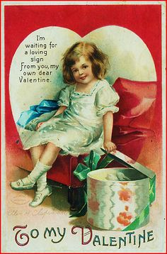 Postcard: To My Valentine - A Girl Opening a Package Children Ellen Clapsaddle