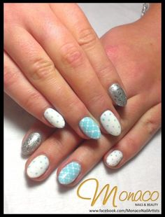 Pastel Blue #NailArt for Jess using Artistic #ColourGloss. Loving the quilt effect and polka dots! #NailsByMonaco