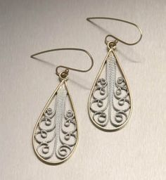 Nob Hill Collection - 14K Gold and Fine Silver Filigree Earrings