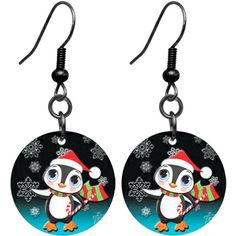 Black Titanium Christmas Penguin Earrings