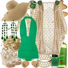 <3 this whole ensemble. But especially the green swimsuit.