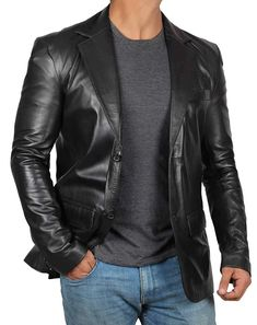 Real Lambskin Brown Leather Mens Blazer - Soomro Mens Leather Blazer, Lambskin Leather Jacket, Leather Men, Leather Jackets, Brown Leather, Men Blazer, Leather Fashion, Hooded Bomber Jacket, Windbreaker Jacket