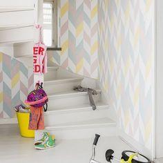 Kira by Sandberg - Pink - Wallpaper : Wallpaper Direct Wallpaper Pink And Yellow, Chevron Wallpaper, Pink Yellow, Scandinavian Wallpaper, Scandinavian Design, Black Color Combination, Kitchen Sofa, Hallway Wallpaper, Instagram Wall