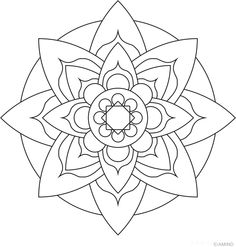Simple sunflower drawing simple mandala flower coloring pages colouring in cure draw simple sunflower drawing step by step Mandala Simple, Easy Mandala Drawing, Lotus Flower Mandala, Mandalas Drawing, Mandala Art, Geometric Flower, Mandala Tattoo, Zentangles, Coloring Pages Nature