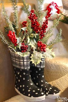 DIY Christmas Decor with old boots! Make it fabulous at Designdazzle.com #diyChristmas #christmascrafts #repurposed