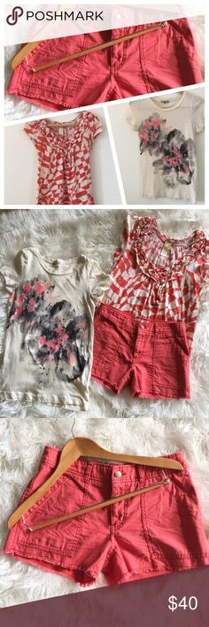 BUNDLE Free People coral shorts 2 T-shirts These shorts are in excellent condition! 15 inches across the waist. 8 inch inseam. J. Crew t-shirt 100% cotton. Size small. Anthropologie t-shirt. C. Keer brand. 100% cotton. Size XS. Non-smoking pet free home. Free People Shorts