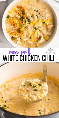This White Chicken Chili is ultra thick and creamy, with shredded chicken, white beans and corn and just the right amount of spice! Make ahead and freezer friendly, perfect for pantry cooking. #chili #chicken #chickenbreast #dinner