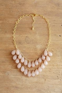 Light Blush Teardrop Necklace, Blush Statement Necklace, Pale Pink Beaded Necklace