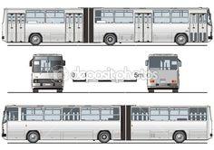 Vector detallado autobús urbano articulado, para calificar