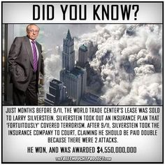 World Trade Center leaseholder Larry Silverstein bought terrorism insurance two months before then collected double… Things To Know, Did You Know, Good To Know, Weird Facts, Fun Facts, Crazy Facts, 911 Conspiracy, Illuminati Conspiracy, Conspiracy Theories Government