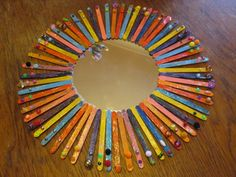 Painted popsicle stick mirror