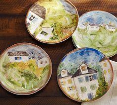 Watercolor Farmhouse Salad Plates, Mixed Set of 4 | Pottery Barn
