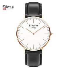 BXboxue Luxury Brand Quartz Watch 2016 Women Fashion Gold Dial Nylon Strap Watch Men Casual Simple Wristwatch Relogio Feminino